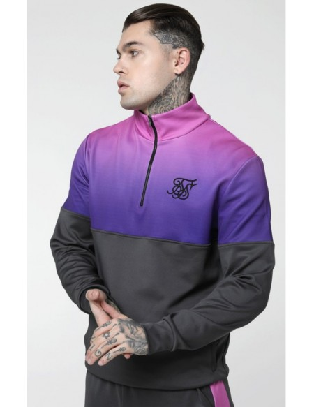 SIKSILK QUARTER ZIP POLY RACER FADE TRACK TOP