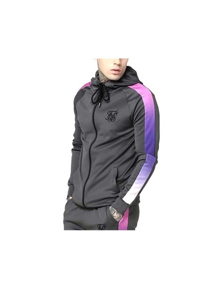 SIKSILK FADE PANEL ZIP THROUGH HOODIE
