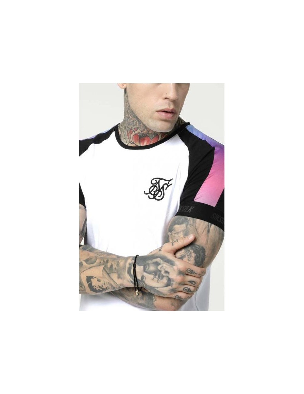 SIKSILK RAGLAN PANEL FADE TECH TEE