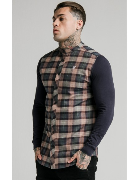 SIKSILK FLANNEL CHECK GRANDAD SHIRT