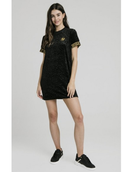 SIKSILK DEVOSED VELOUR T-SHIRT DRESS