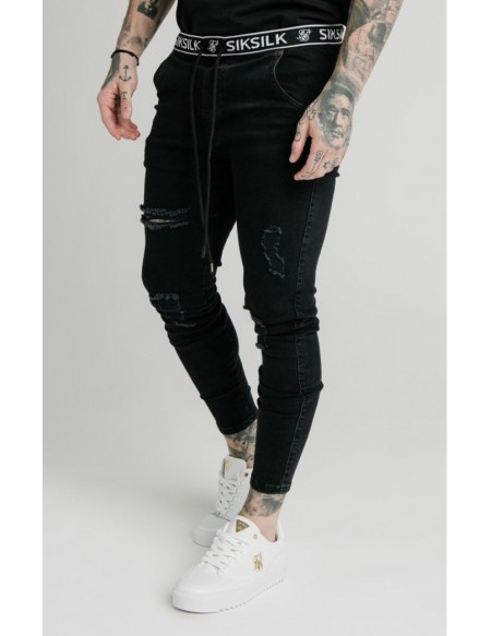 SIKSILKC ELASTICATED WAIST SKINNY DISTRESSED DENIM