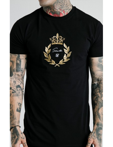 SIKSILK X DANI ALVES EMBOSSED FITTED BOX TEE NEGRO
