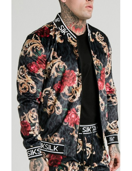 SIKSILK X DANI ALVES VELOUR BOMBER JACKET NEGRO