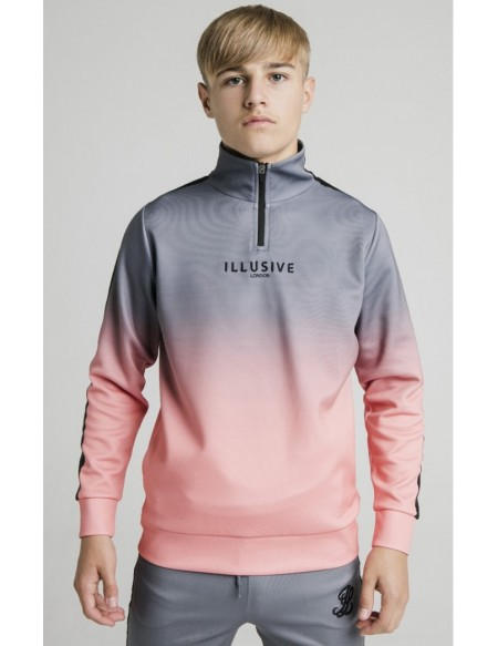 ILLUSIVE LONDON 1/4 ZIP FADE HOODIE GREY/PEACH