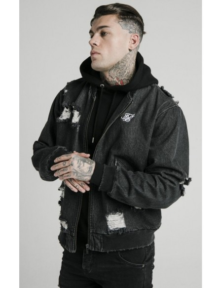SIKSILK DISTRESSED DENIM BOMBER JACKET WASHED BLACK