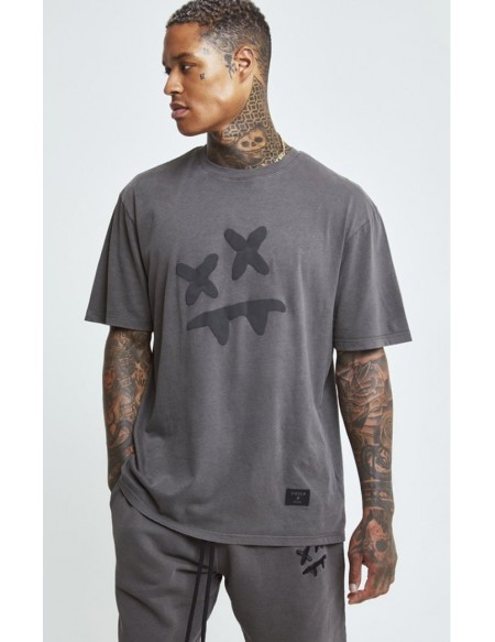 SIKSILK X STEVE AOKI S/S ESSENTIAL TEE WASHED GREY