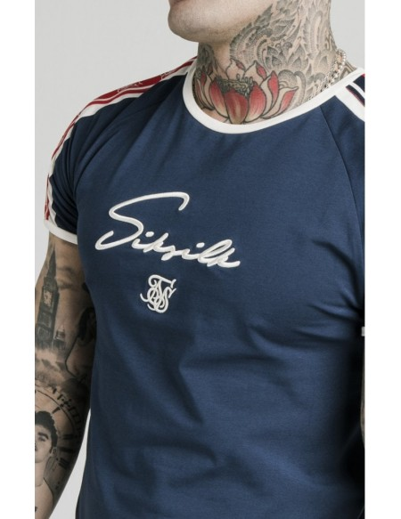 SIKSILK RETRO TAPE GYM TEE NAVY