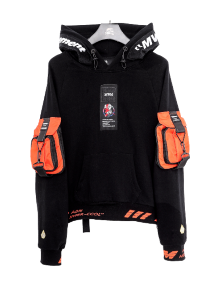 MWM BLACK/LASER ORANGE POCKET SWEATSHIRT ELASTIC WAIST