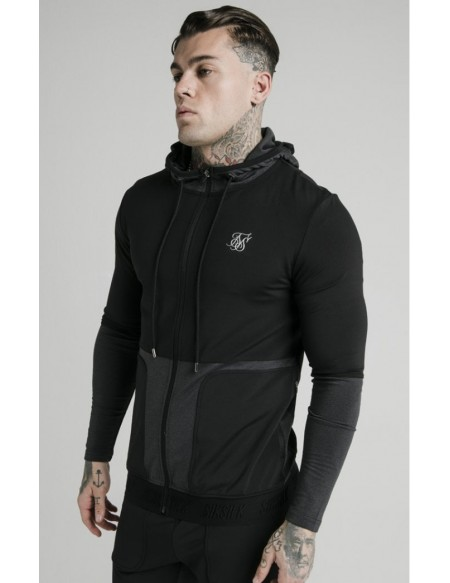 SIKSILK ADVCANCED TECH ZIP THROUGH HOODIE BLACK