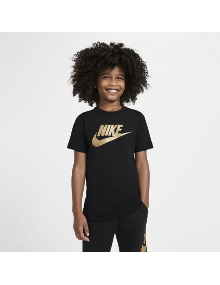 NIKE SPORTSWEAR T-SHIRT BLACK/METALLIC GOLD