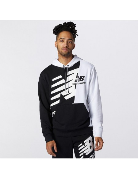 NEW BALANCE SPLICE HOODY BLACK/WHITE