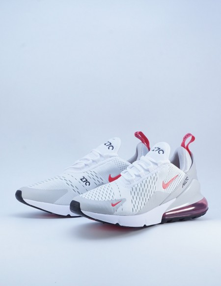 NIKE AIR MAX 270 WHITE/LT FUSION RED-GREY FOG-BLACK