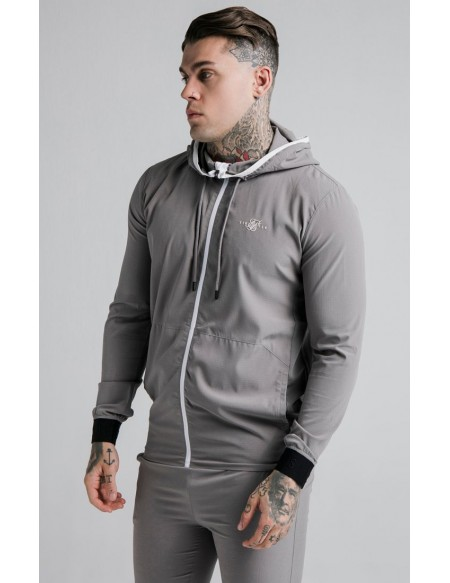 SIKSILK AGILITY RIPSTOP ZIP THROUGH HOODIE GREY