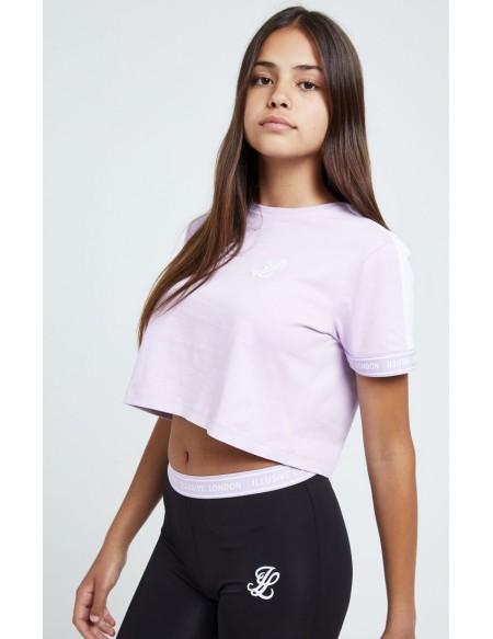 ILLUSIVE LONDON TAPE CUFF CROP TEE WHITE