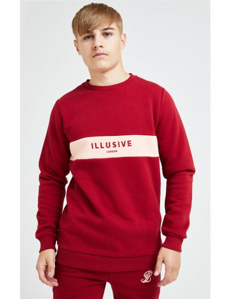 ILLUSIVE LONDON DIVERGENCE CREW SWEATER RED