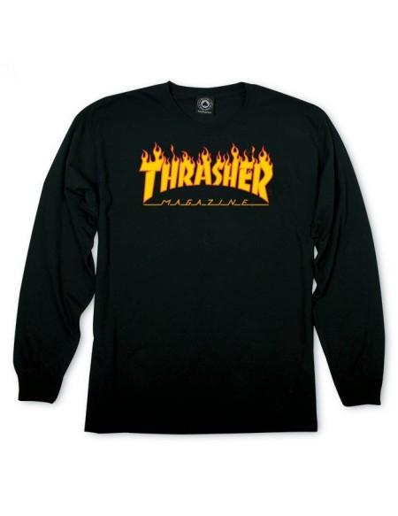 THRASHER FLAME LONG SLEEVE BLACK