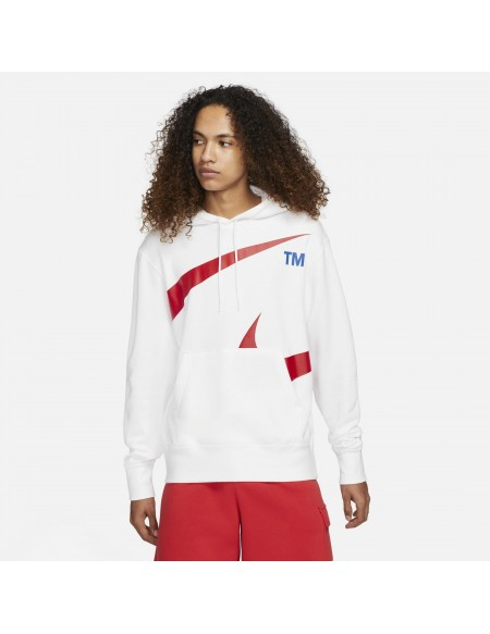NIKE SPORTSWEAR SWOOSH HOODIE WHITE/UNIVERSITY RED