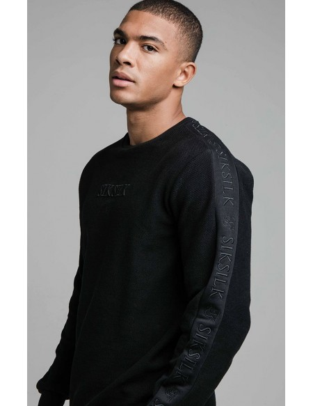SIKSILK L/S LOOP BACK EMBROIDERED SWEATER BLACK