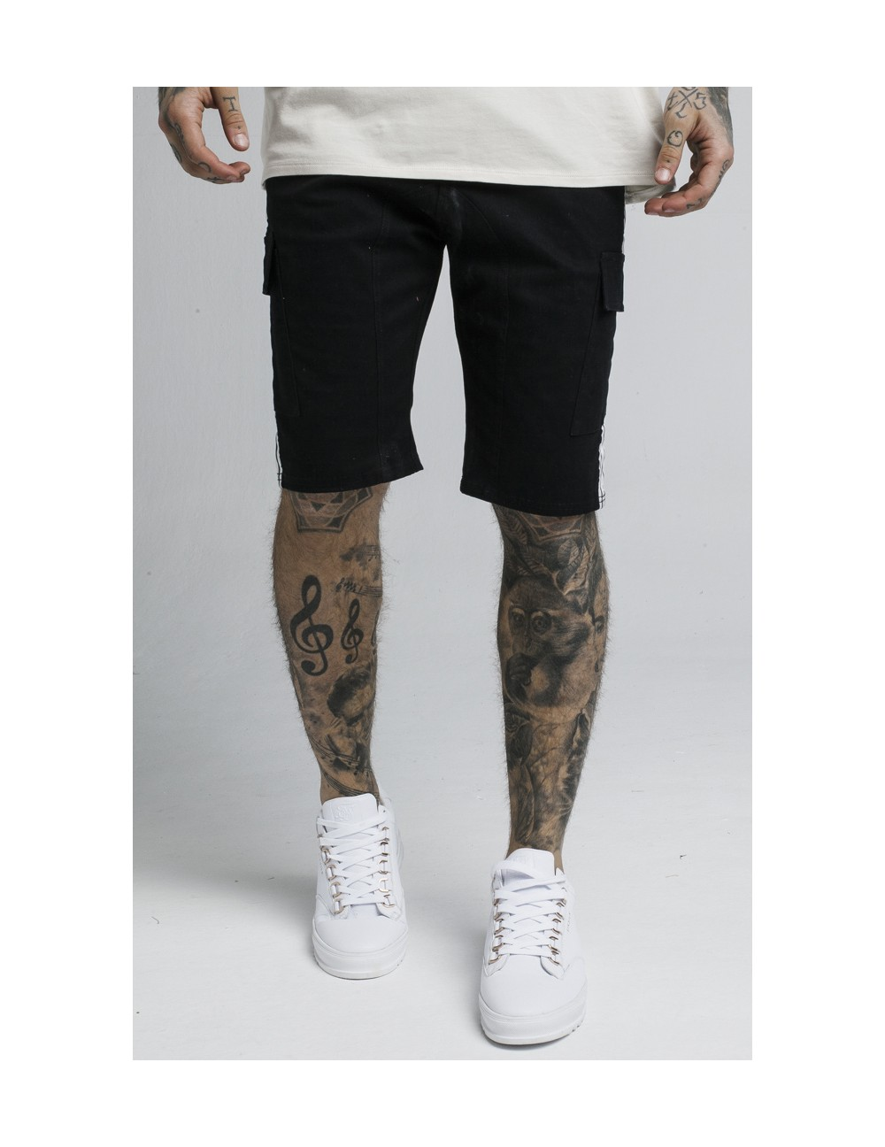 SIKSILK TAPED CARGO SHORTS