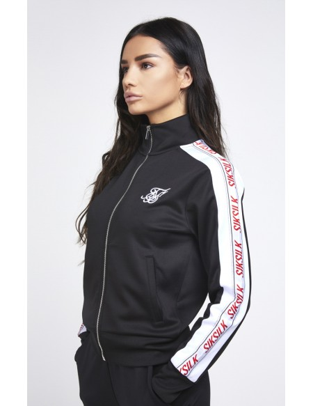 SIKSILK 90`s PANEL POLY ZIP TRACK TOP